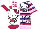 Hello kitty kindersokken in wit en roze/paars gestreept